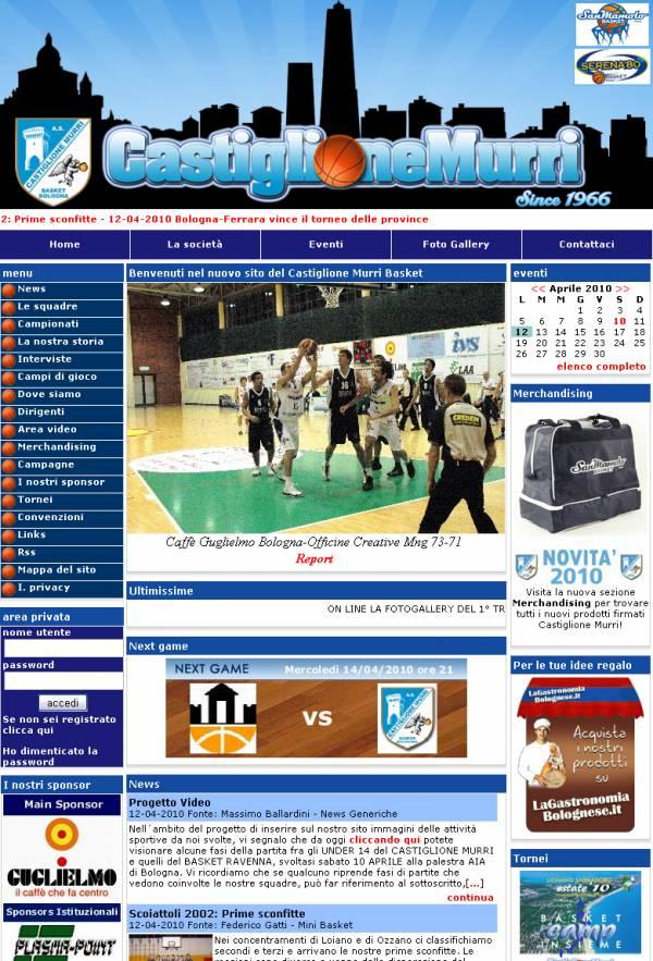 esempio di stile personalizzato per sito web per squadra di basket