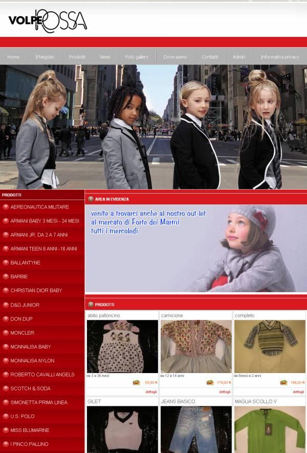 esempio di stile personalizzato per sito web per negozio